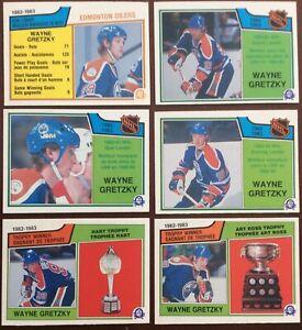 Vintage-hockey-cards-Lot-6-OPC-1983-84-Wayne-Gretzky-5-NM-1-EXMTO-Pee-Chee-1983