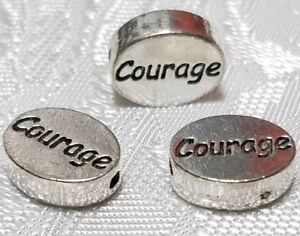 11mm L x 9mm W x 3mm D COURAGE WORD FINE PEWTER OVAL DISC BEAD