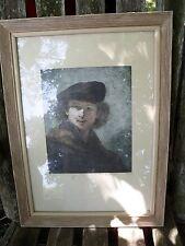 Rembrandt Self Portrait Original Rendering Signed Picture Print w/ Frame Glass