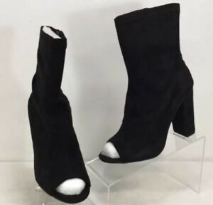465337864e08 Boohoo Faye Black Microfiber Peeptoe Block Heel Boots Women s Sz UK ...