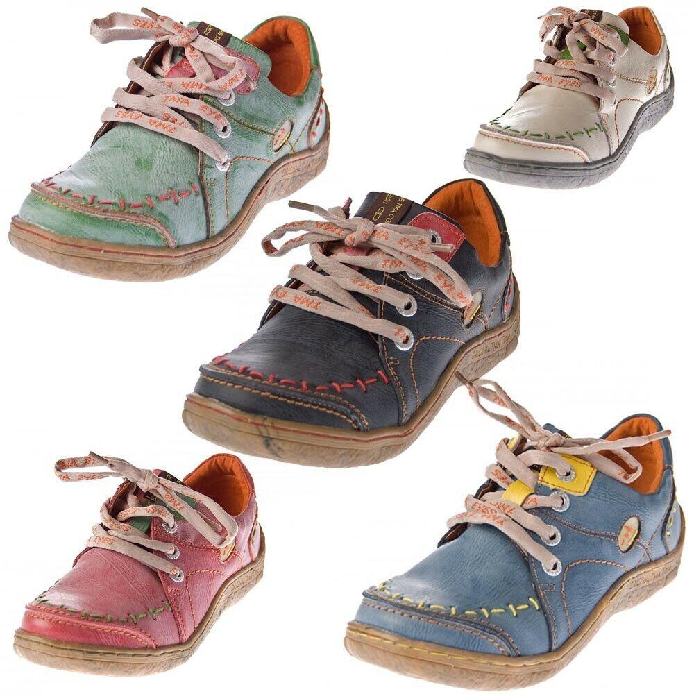 Femmes Cuir Moitié Chaussures Comfort Baskets Usé Look de Sport TMA Yeux 1646