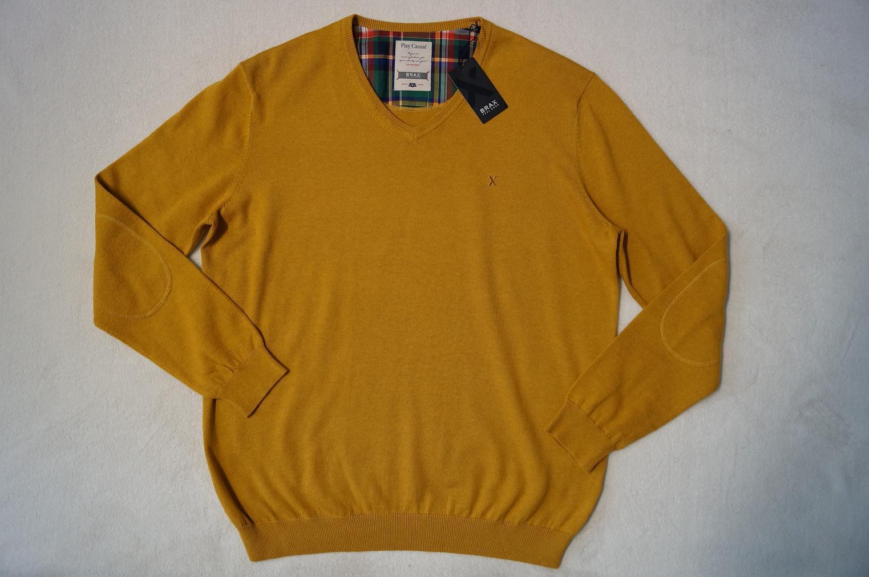 BRAX  Vico Pullover V-Ausschnitt  Gr. 52  20%Wolle gelb-sand  NEU