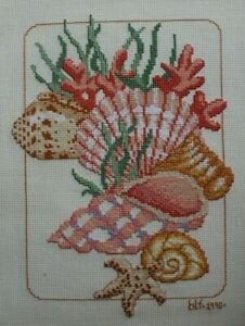 Colorful-Seashells-Nautical-Ocean-Themed-Cross-Stitch-Completed-Finished