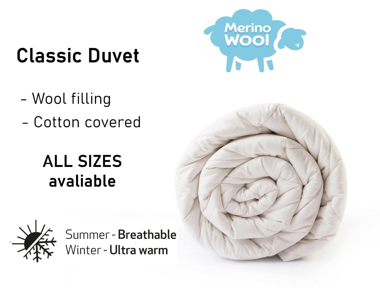 Merino Wool Bettdecke Steppdecke - Wolle & Natürlich Bett Alle Größen 10.5-8 Tog