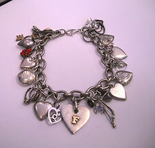 """Antique Sterling Silver Heart Charm Bracelet various kind  Charms Long 8 1/2"""""""