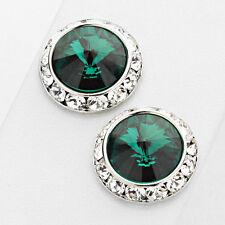 "Fashion Emerald Green Large Round Stud Crystal Swarovski Elements Earrings 5/8"""