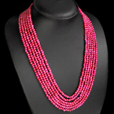 SUPERB EXCELLENT BEST 387.00 CTS NATURAL RED RUBY 6 STRAND ROUND BEADS NECKLACE