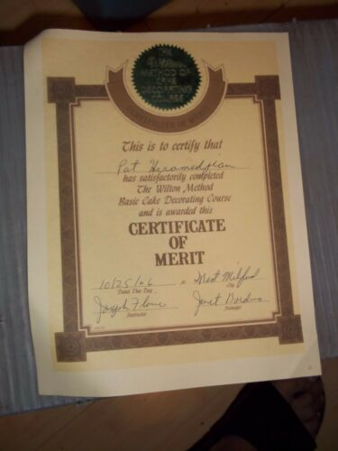 .1966 SIGNED ORIG CERTIFICATE OF MERIT WILTON METHOD OF CAKE DECORATING COURSE