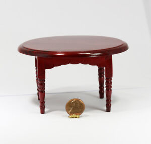 Image Is Loading Dollhouse Miniature Dark Cherry Wood Round Dining Table
