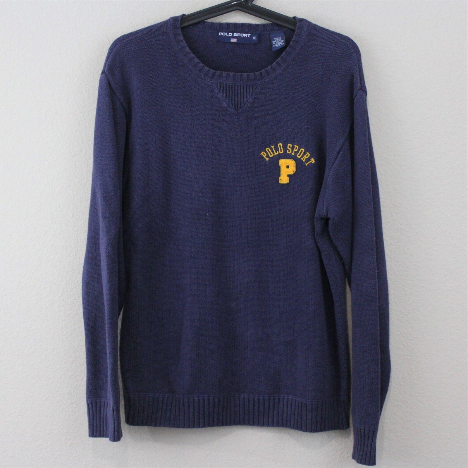 VTG Polo Sport Ralph Lauren  Herren XL Spell Out Made In Japan Sweater Q204