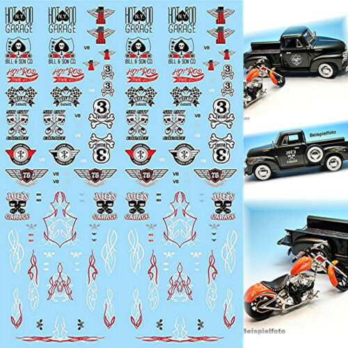 Hot Rod garaje Decals negro-rojo-blanco 1:43 decal estampados