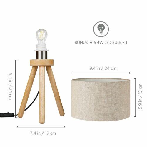 Leinen Nachttischlampe mit Holzstativ Tomons LED Tischlampe Energieklasse A++