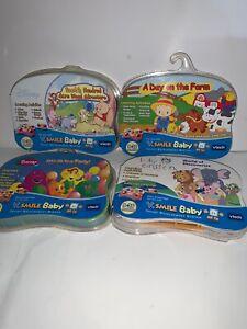 Vtech-V-Smile-Baby-Learning-Games-LOT-OF-4-New-Pooh-Barney-Farm-Einstein-E1