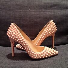 NEW Christian Louboutin Pigalle Spikes 100 Nude Pumps 36.5 NWB Full Set
