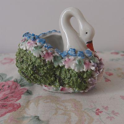 German Antique Elfinware Mossware Swan Flower Encrusted