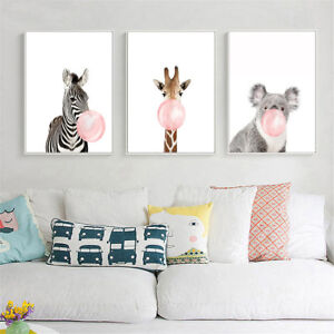 Animal-Koala-Giraffe-Zebra-Canvas-Poster-Nursery-Wall-Art-Print-Kids-Room-Decor