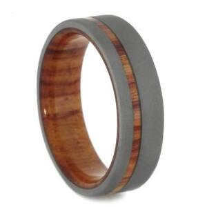 Wood Wedding Band.Details About Sandblasted Titanium Ring Tulip Wood Wedding Band