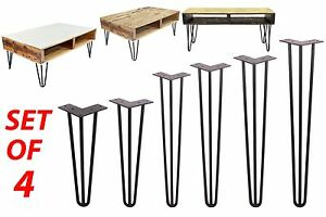 Solid Hairpin Legs Set Of 4 Diy Black Steel 3 Rods Table Chair Legs