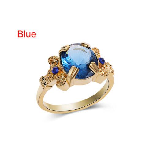 Modeschmuck Gelbes Gold füllte runden blauen Saphir Frauen Ehering