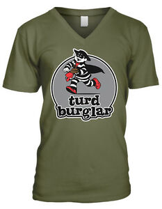 Turd Burglar Hamburger Character Poop Crude Stripes Run Juniors V-Neck T-Shirt