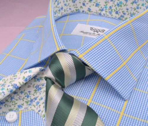 Light Blue Mini Gingham Checkered Formal Business Dress Shirt Yellow Floral Boss