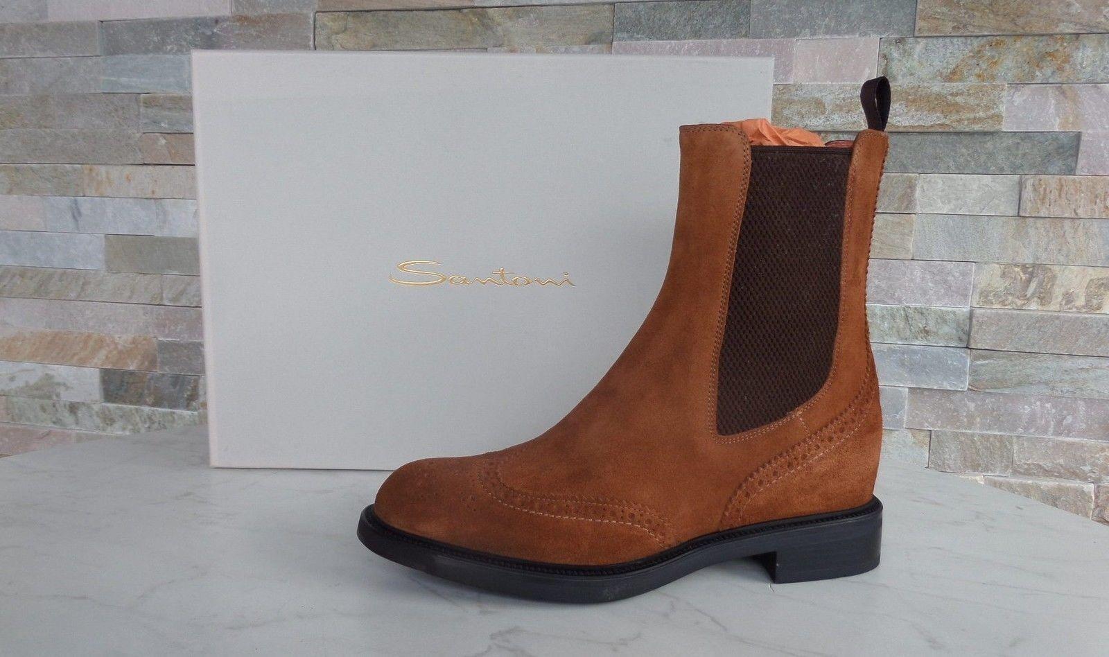 LUSSO Santoni Taglia 37 Stivaletti Stivali Stivali Booties Scarpe Cognac Nuovo UVP