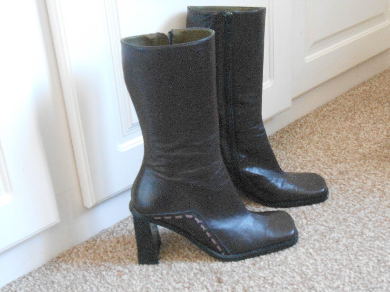 Ladies John Richmond dark plum Größe zipped  Leder Stiefel Größe plum 6 , EU Größe 39 258e57