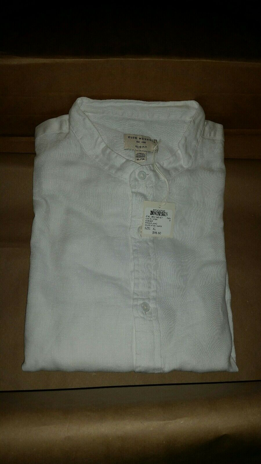CLIB MONACO SLIM LINEN WHITE SIZE XL