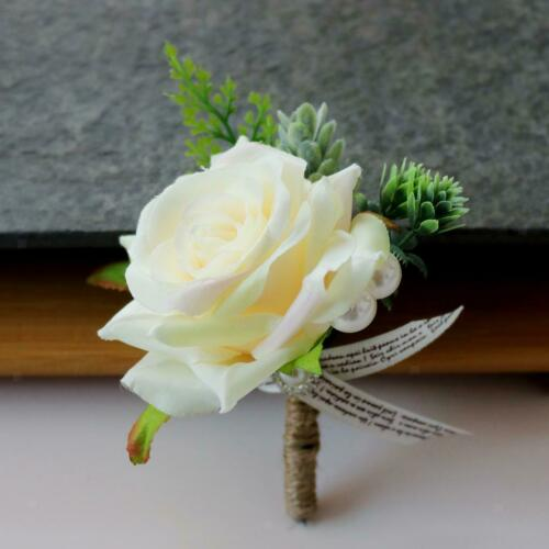 2pcs Romantic Wedding Rose Corsage Groom Best Man Boutonniere Party Decor