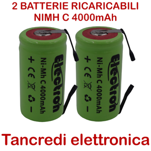 2-Batteria-NiMh-C-mezza-torcia-4000mAh-4Ah-lamelle-linguette-tabs-battery-3-5Ah