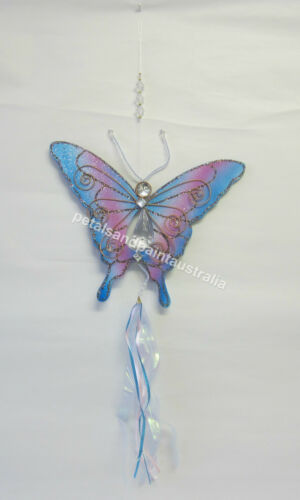 Beads Diamantes,Wire /& Ribbon Glitter New Blue Butterfly Mobile with Crystal