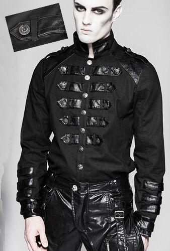 Offizier Hemd Gothic Punk Militär Dandy Leder Streifen Vintage PunkRave Herren
