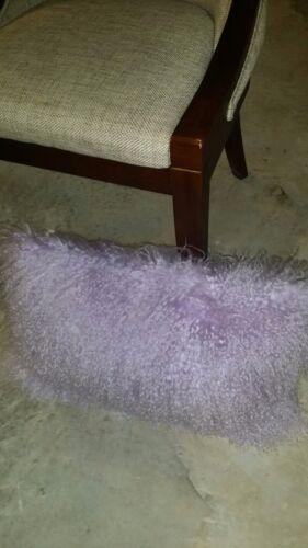 "Handmade Mongolian Fur 12/""x20/"" Rectangle Lavender Pillow Cushion /& fabric back"