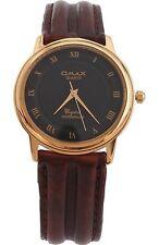 Omax Unisex Gold Bezel Dark Brown Leather Strap Watch Analog Quartz