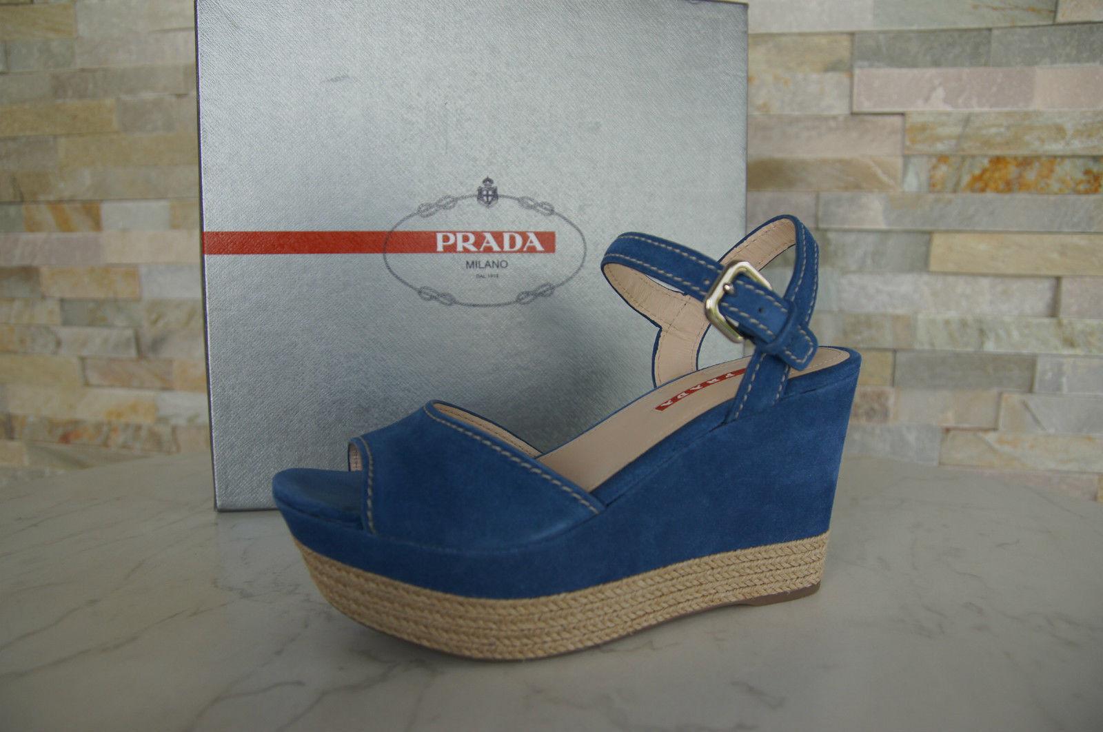 PRADA Dimensione 40 Piattaforma Sandals  scarpe Wedges Sisal blu NEW ex  prezzi bassi di tutti i giorni