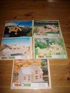 Haus 5 kleinere Holzbausätze Holzpuzzle 3 D Puzzle Kutsche Sportwagen Gelände