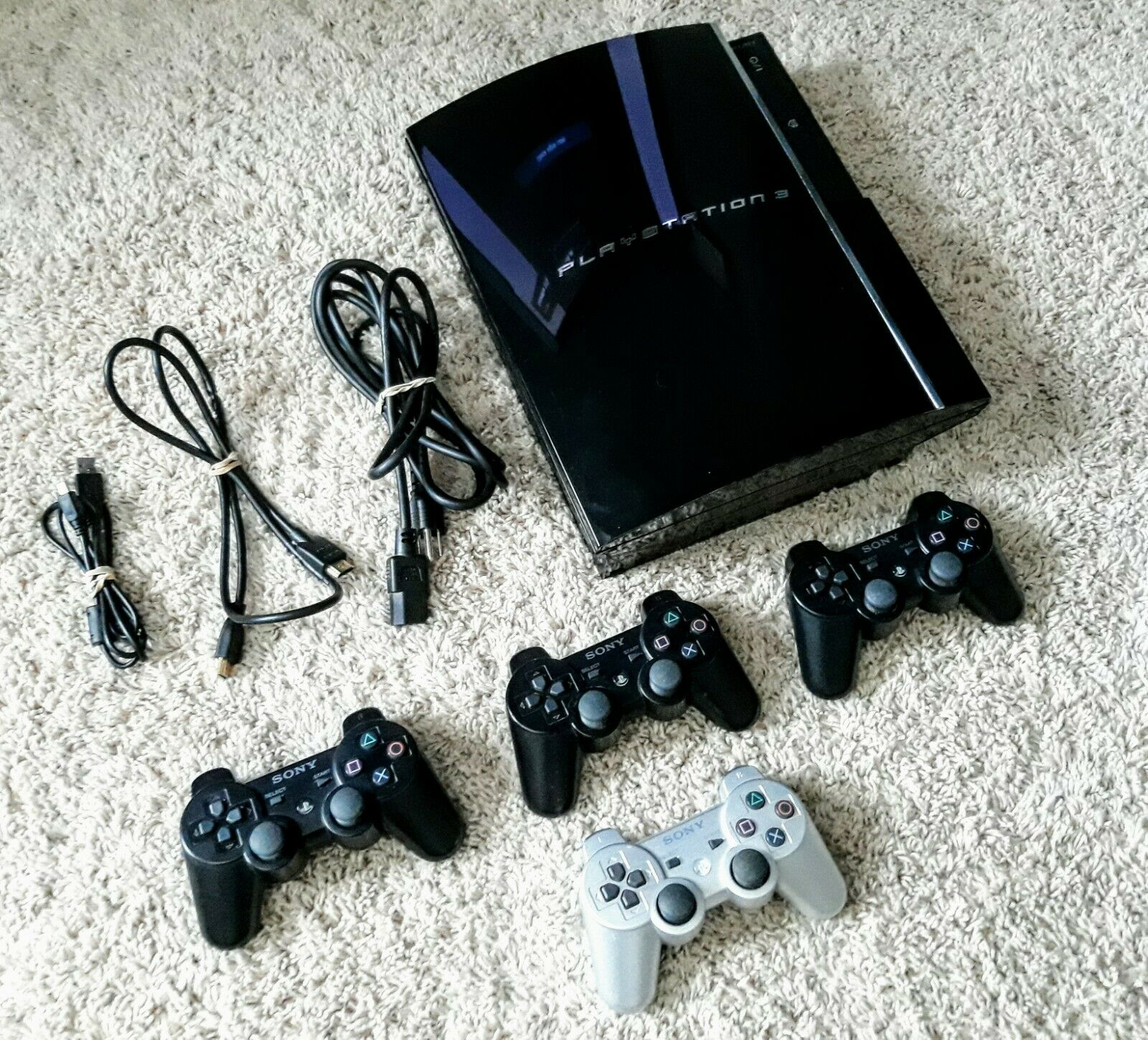 Sony PS3 Console CECHE01 FAT 80gb 4 Controllers w/ New Batteries Backwards Comp