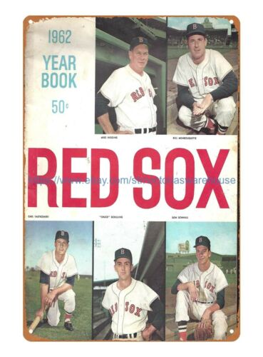 cafe pub wall art bedroom 1962 Boston Red Sox Yearbook baseball tin sign