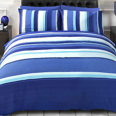 Duvet Set Detroit Blue Stripe Single Double or King Size