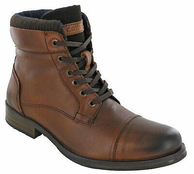 Da Uomo In Pelle Stivali Militari Stile Caviglia Zip Pizzo Imbottito Capped Punta Aperta Uk 7-12- Styling Aggiornato