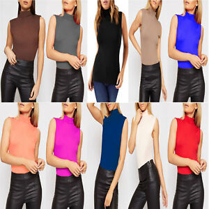f13c9e2b184b9 Women s Ladies Sleeveless Turtle Polo High Neck T-Shirt Top Plus ...
