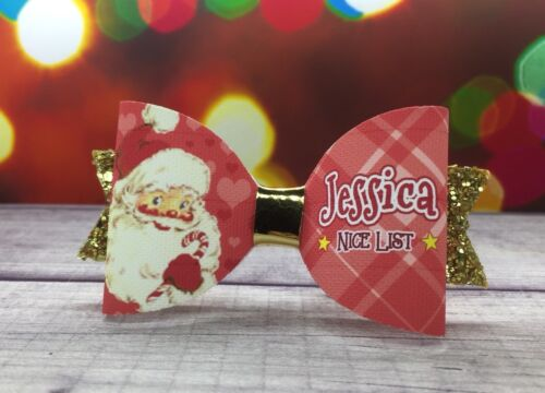 """Any Name Red Gold Santa """"NICE LIST"""" Glitter Hair Bow Personalised Christmas Bow"""