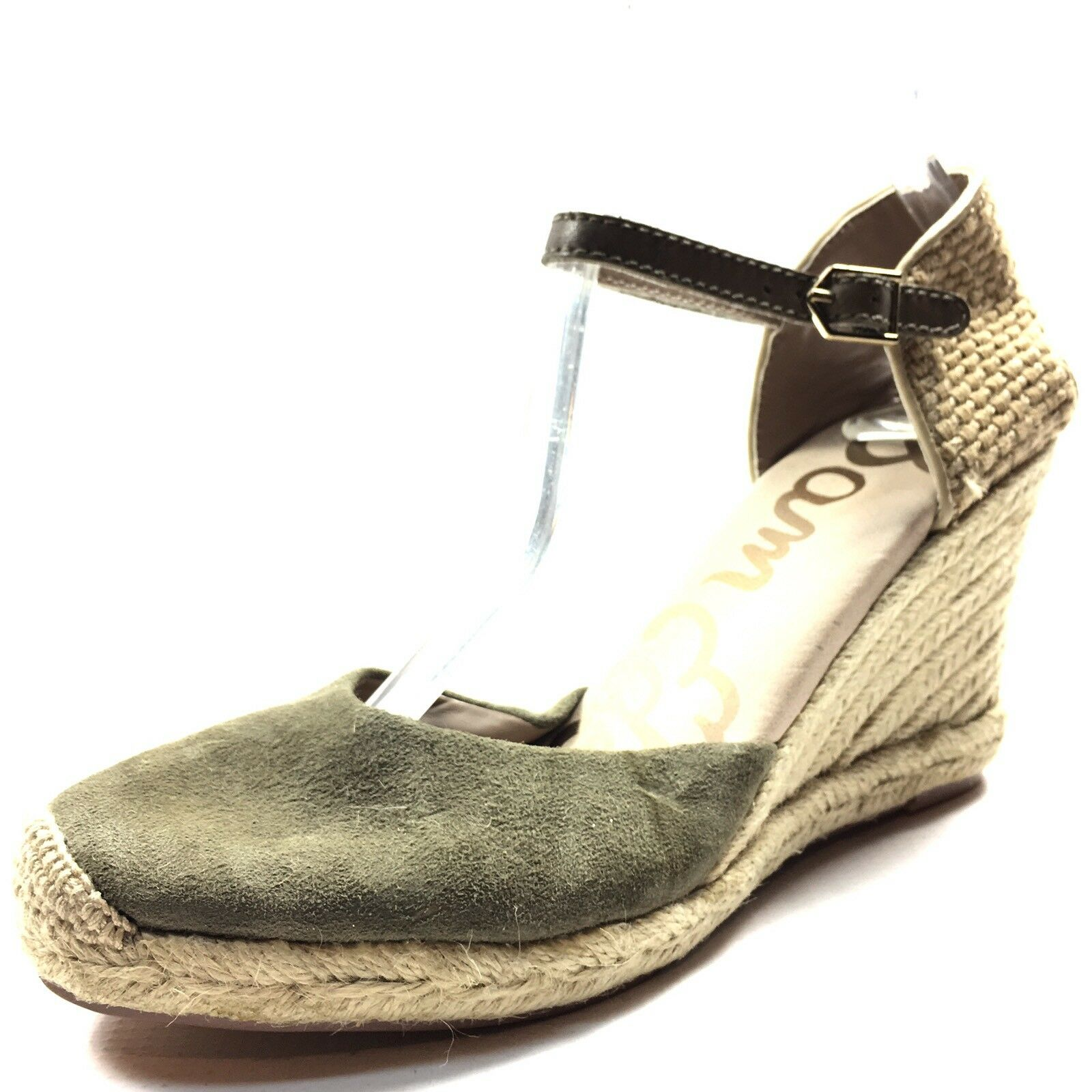 Sam Edelman Harmony Olive Suede Espadrille Ankle Strap Sandals Women's Size 7 M