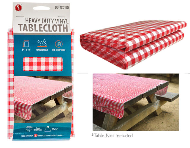 Vintage Red Checkered Pattern Vinyl Tablecloth Heavy Duty