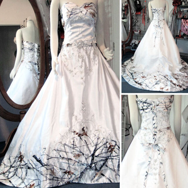 White Camo Wedding Dresses Long Bridal Gowns Camouflage Sequins