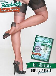 89e72f86f4b09 RHT Full Contrast Stockings - Copper / Black Large by Touchable | eBay