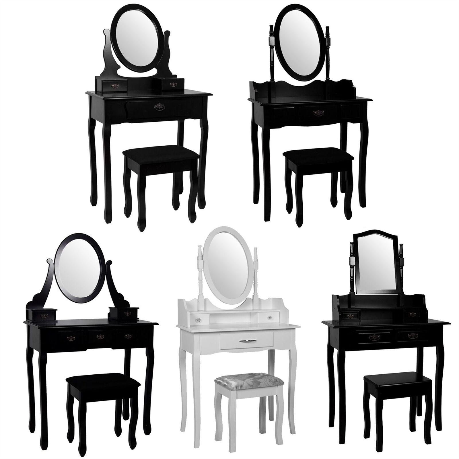 Nishano coiffeuse tiroirs Tabouret Miroir Chambre à Coucher Maquillage Bureau Noir Blanc