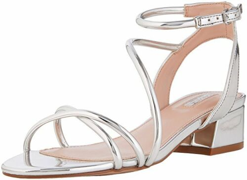 RRP £99 CARVELA KG GOVERNOR SIZE 3 36 SILVER MIRROR LOW HEEL FLAT SANDALS SHOES