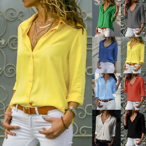 Women-Long-Sleeve-V-neck-Loose-Tops-T-Shirt-OL-Lady-Plain-Casual-Button-Blouse