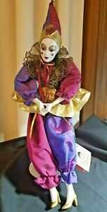 """Vintage Harlequin Pierrot Porcelain Doll~ 19""""Tall by Kingstate the Dollcrafter -"""